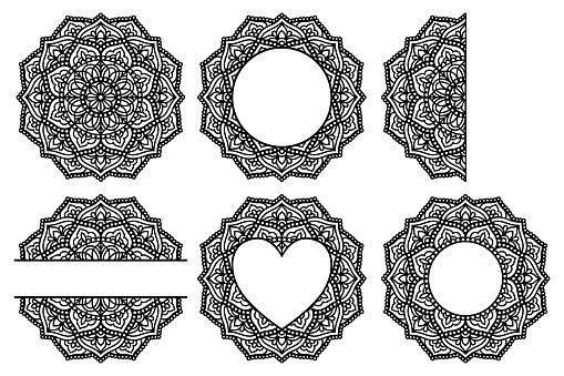 Vector mandala and split monogram. Paper cut template.