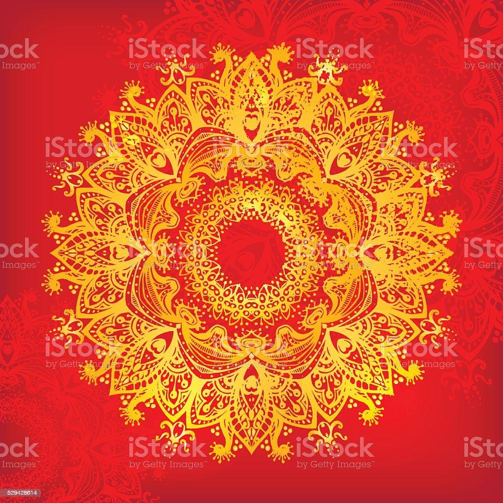 Vecteur Mandala. Belle illustration pour carte ou un t-shirt. - Illustration vectorielle