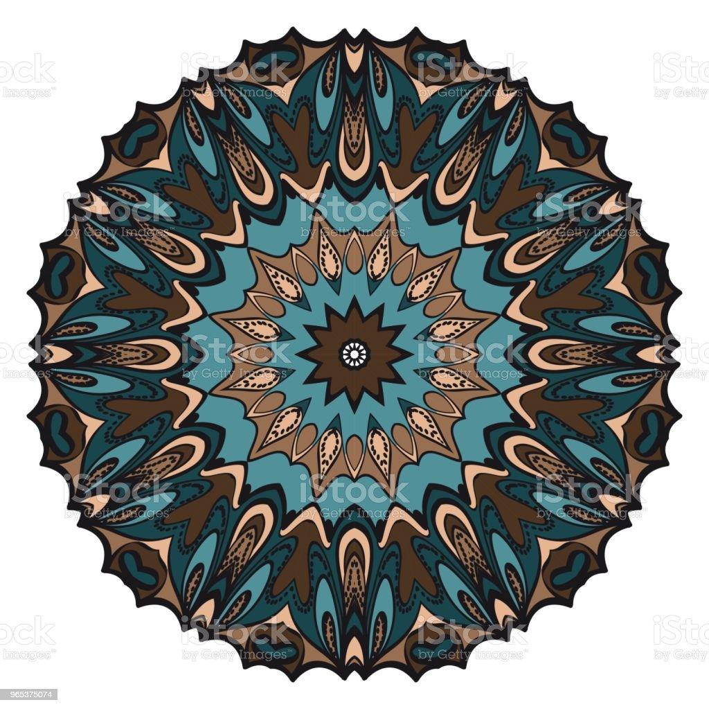 向量曼荼羅, 花曼荼羅。東方曼荼羅。復古裝飾元素。向量插圖。它是超級向量插圖。 - 免版稅T恤圖庫向量圖形