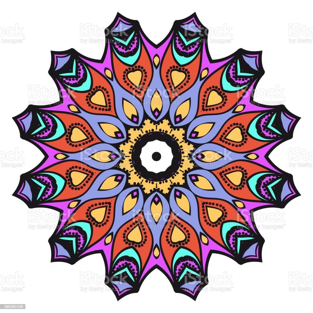 向量曼荼羅, 花曼荼羅。東方曼荼羅。復古裝飾元素。向量插圖。它是超級向量插圖。 - 免版稅俄羅斯圖庫向量圖形