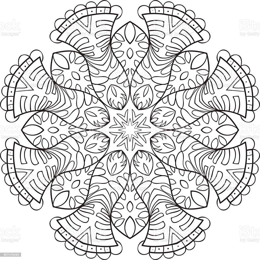 Vector Mandala Flower Ornament Hand Drawn Element For ...