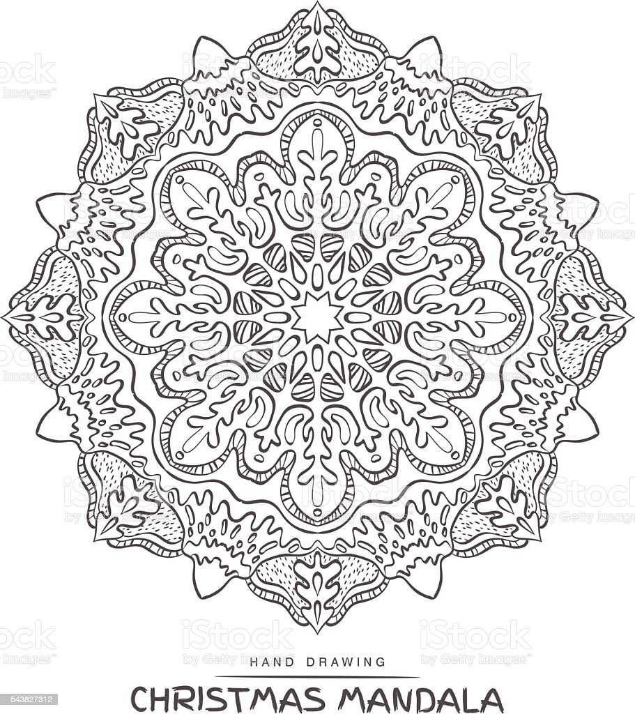 Ilustración de Mandala Del Vector De Navidad Para Colorear Con ...
