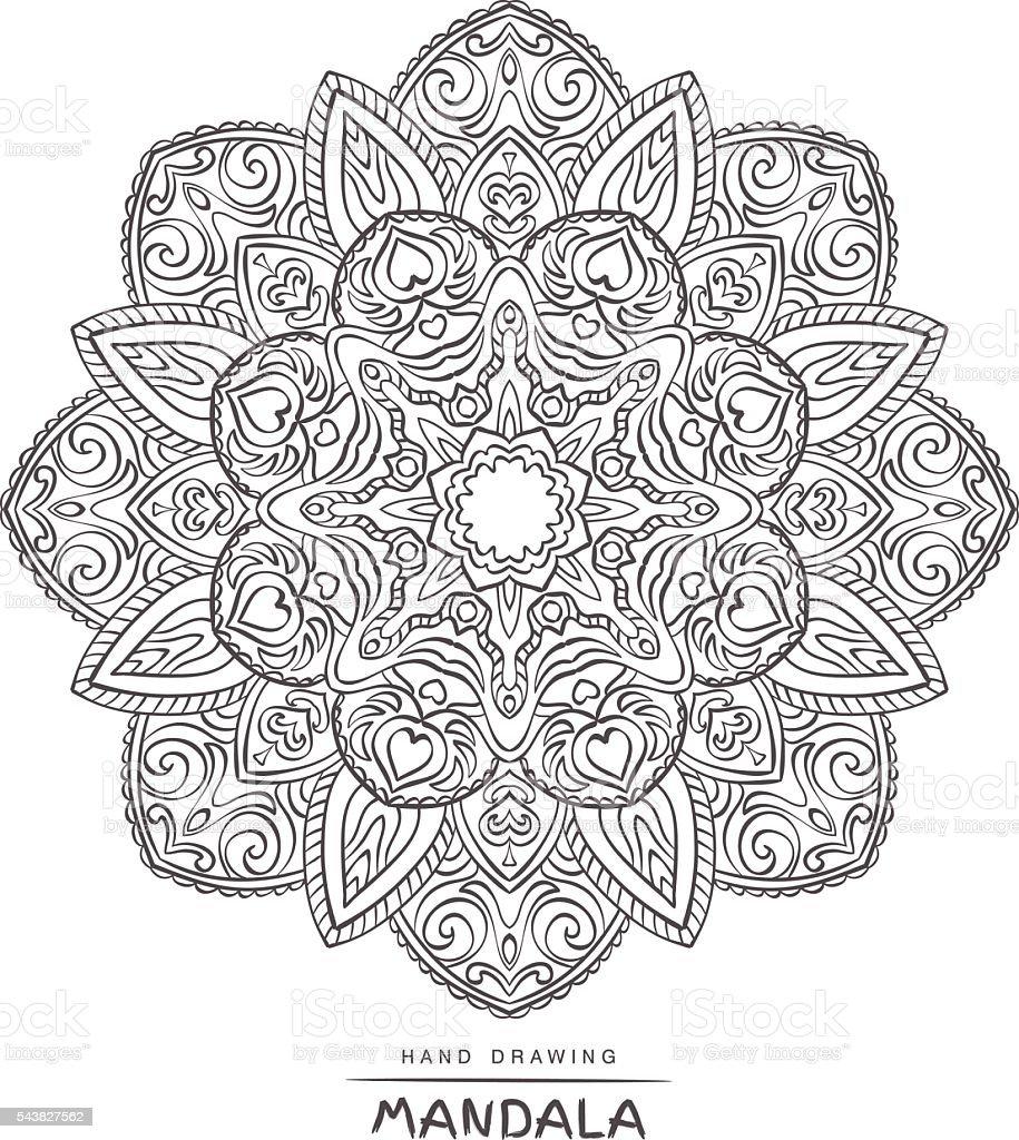 Ilustración de Mandala Del Vector Para Colorear Con Elementos ...