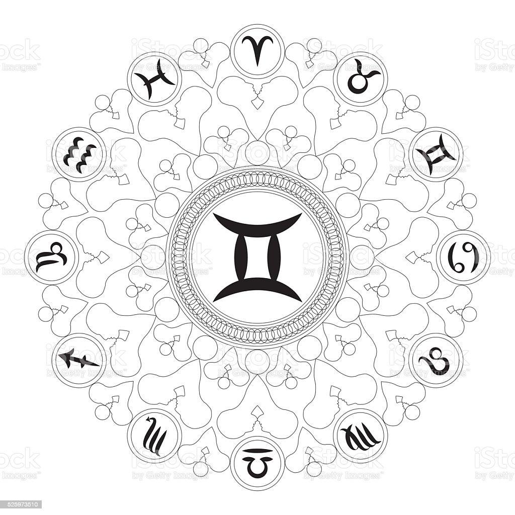 Vector Mandala Zodiac Symbol Gemini Stock Vector Art More Images