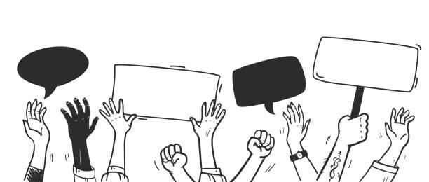 ilustraciones, imágenes clip art, dibujos animados e iconos de stock de manifestación vectorial e ilustración de voto con manos arriba y pancartas aisladas sobre fondo blanco. - polling place