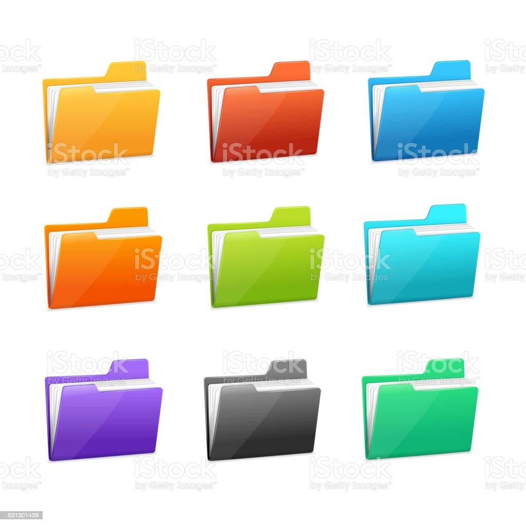 Vector many rainbow folders set on the white vector art illustration