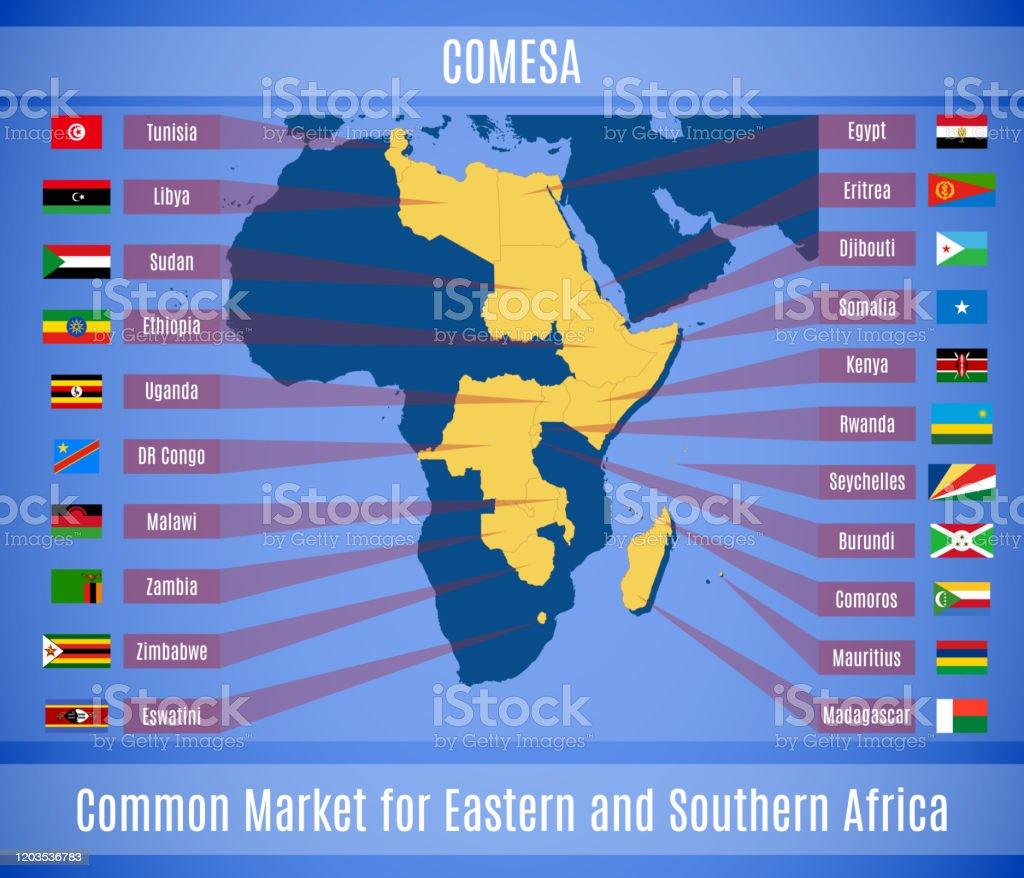 東アフリカと南部アフリカの共通市場のベクトルマップと旗 - Genericの ...