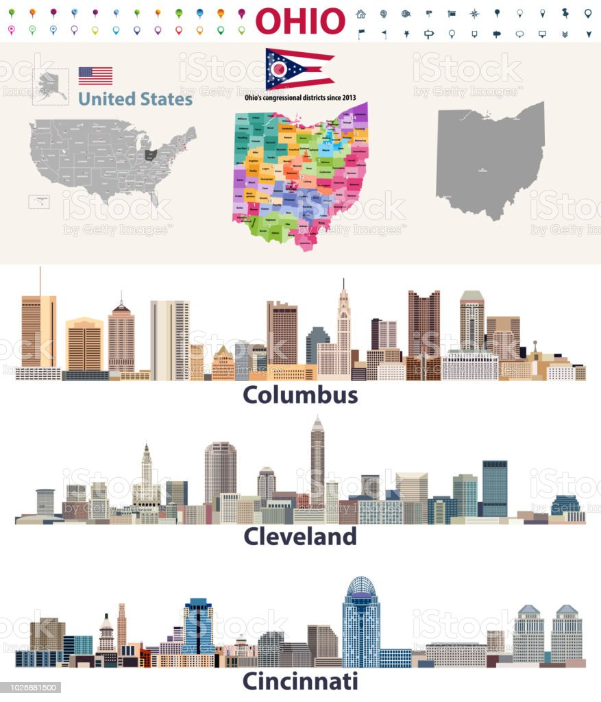 Vector Map And Major Cities Of Ohio State Stock Vector Art & More ...