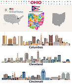 vector map and major cities of Ohio state