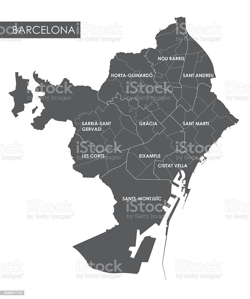 Vector Map Barcelona District Stock Vector Art IStock - Barcelona map europe