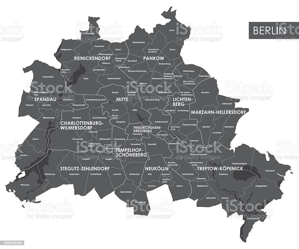 Vector map Berlin district vector art illustration