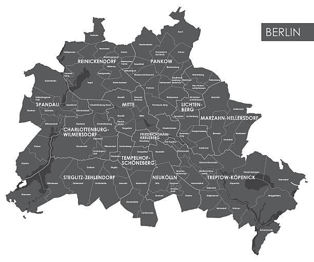 bildbanksillustrationer, clip art samt tecknat material och ikoner med vector map berlin district - berlin street
