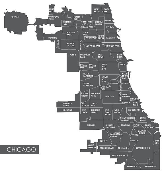Vector map Chicago district Vector map Chicago district chicago stock illustrations