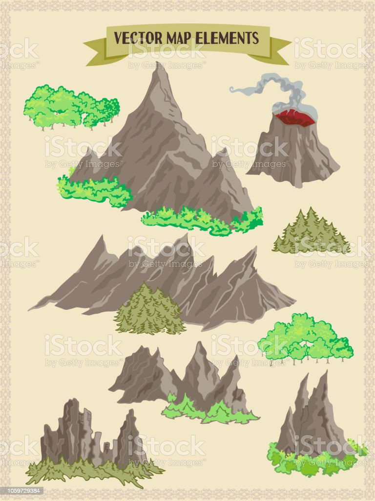 Vector map elements, colorful, hand draw - forest, mountains, trees vector art illustration