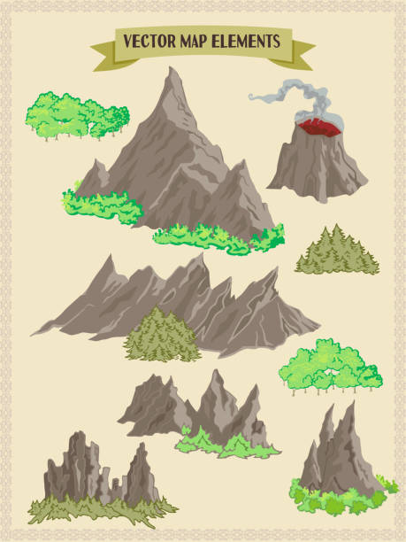 vector map elements, colorful, hand draw - forest, mountains, trees - treasure map backgrounds stock illustrations
