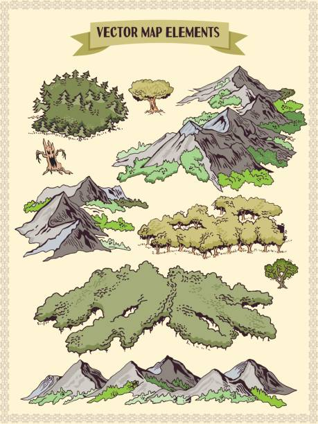 vector map elements, colorful, hand draw - forest, tree, wood - wood texture stock illustrations