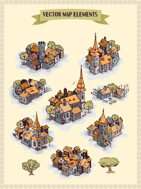 illustrations, cliparts, dessins animés et icônes de éléments de carte de vecteur, colorés, main draw - colonie, ville, village - cartes au trésor