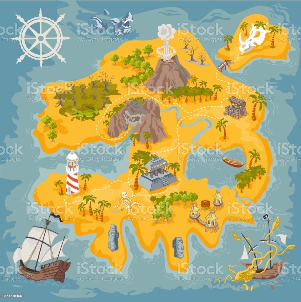 Vektor karta inslag av fantasy pirate island i färgglada illustration och hand Rita av mystery sfär - Royaltyfri Alligator vektorgrafik