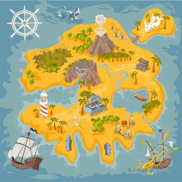 bildbanksillustrationer, clip art samt tecknat material och ikoner med vektor karta inslag av fantasy pirate island i färgglada illustration och hand rita av mystery sfär - ö