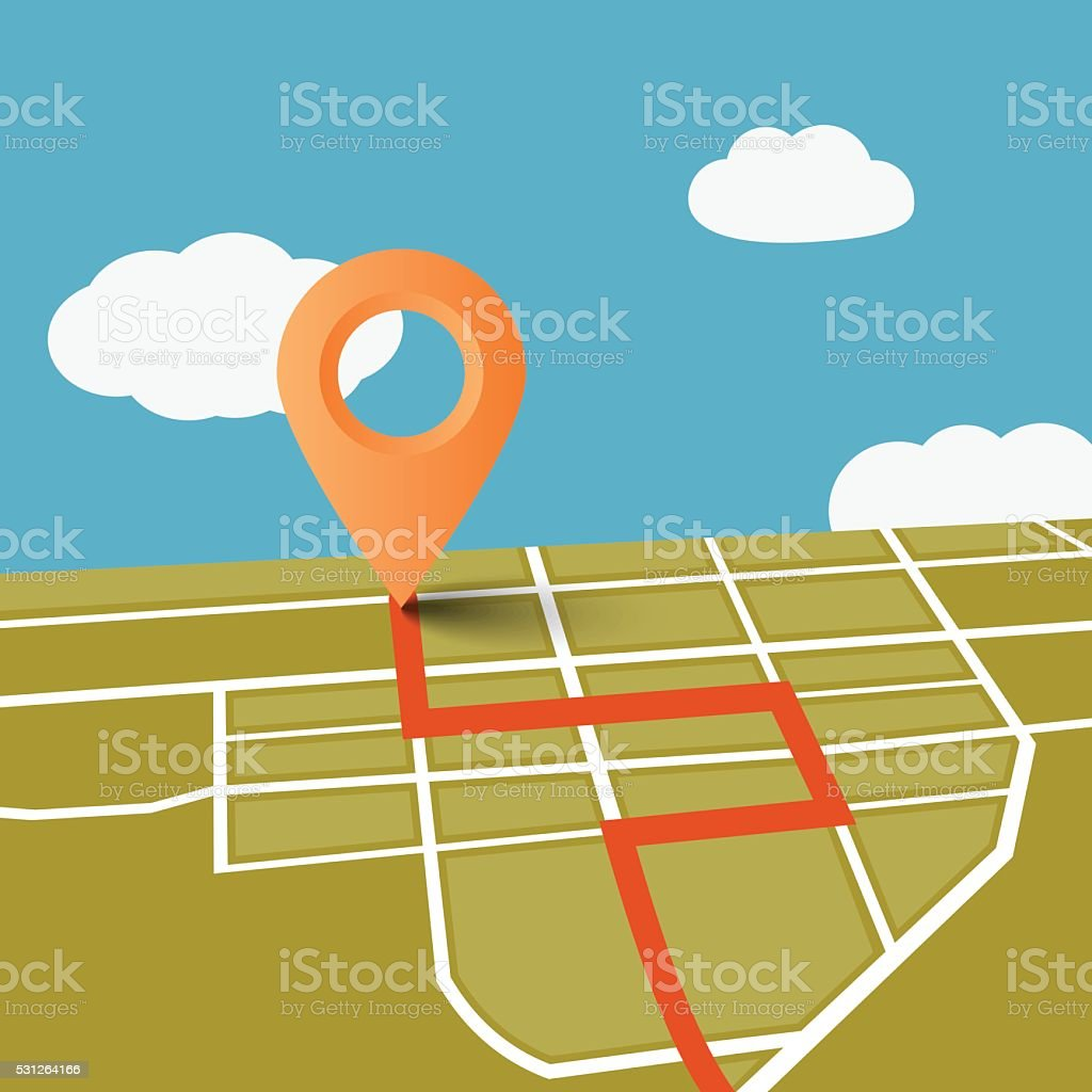 Vector map GPS navigator on blue sky with white clouds. Spring and...