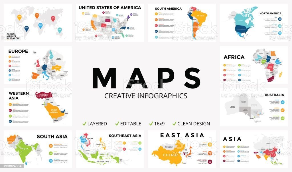 Vector map infographic. Slide presentation. Global business marketing concept. Color country. World transportation geography data. Economic statistic template. World, America, Africa, Europe, Asia, Australia, USA vector art illustration
