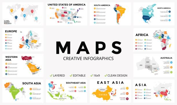 ilustraciones, imágenes clip art, dibujos animados e iconos de stock de vector map infographic. slide presentation. global business marketing concept. color country. world transportation geography data. economic statistic template. world, america, africa, europe, asia, australia, usa - viaje a áfrica