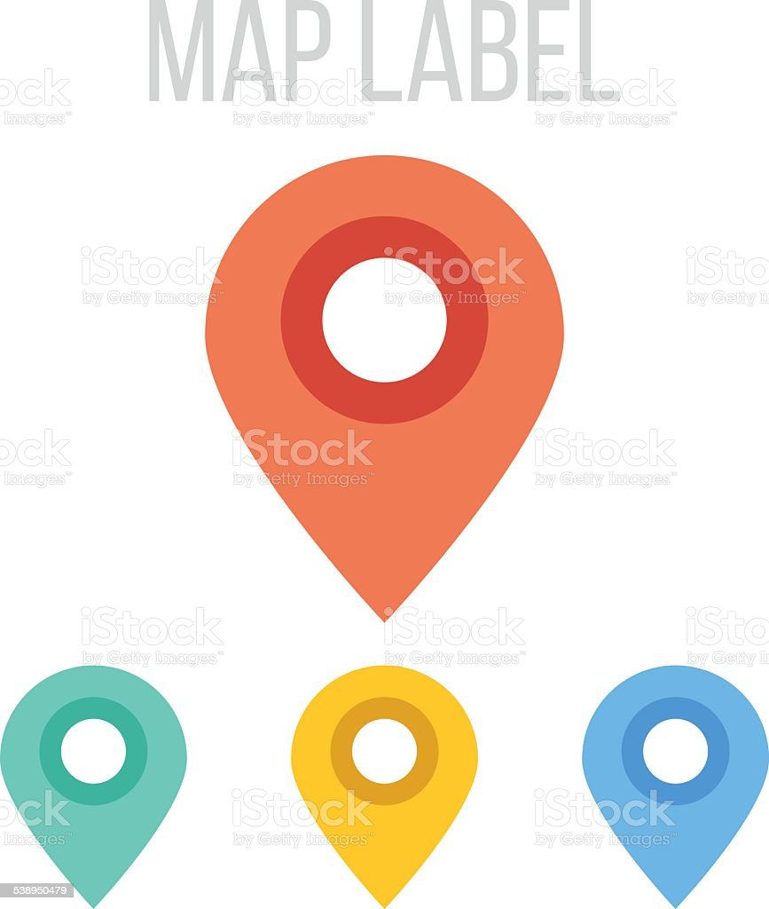 Vector map label icons vector art illustration