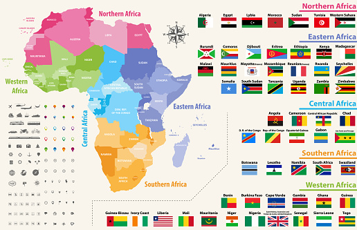 vector map of Africa continent colored by regions. All flags of African countries arranged in alphabetical order and singled out by regions