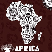Vector map of Africa with ethno pattern, tribal background. Vector illustration of Africa on panther skin background.