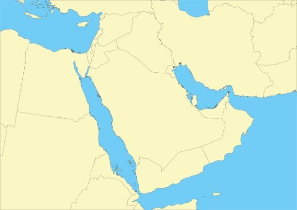 アラビア半島やアラビアのベクトル地図 - 中東の地図点のイラスト素材/クリップアート素材/マンガ素材/アイコン素材