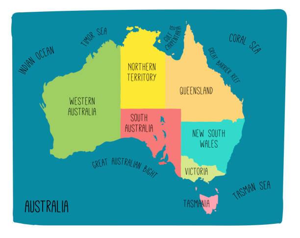 vector map of australia. hand drawn illustration - western australia stock illustrations