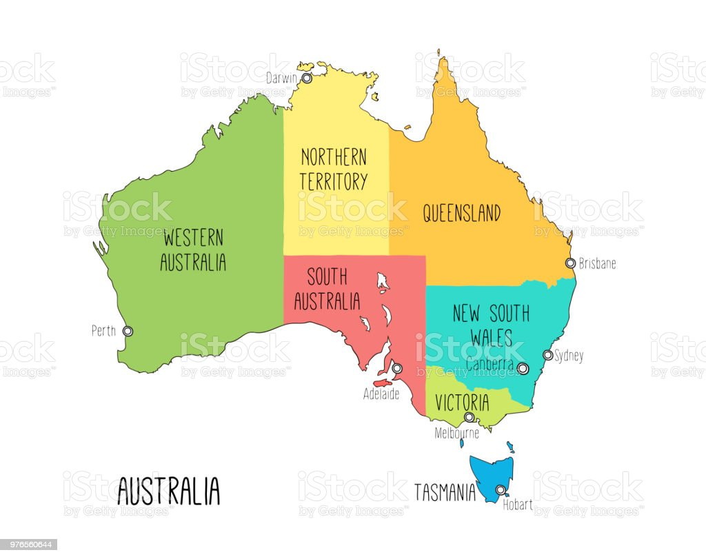 Vector Map Of Australia Hand Drawn Illustration Stock Vector Art