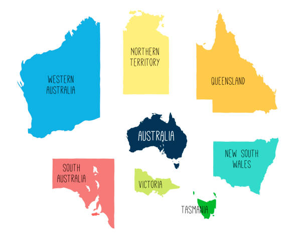 vector map of australia with separated territories. - western australia stock illustrations