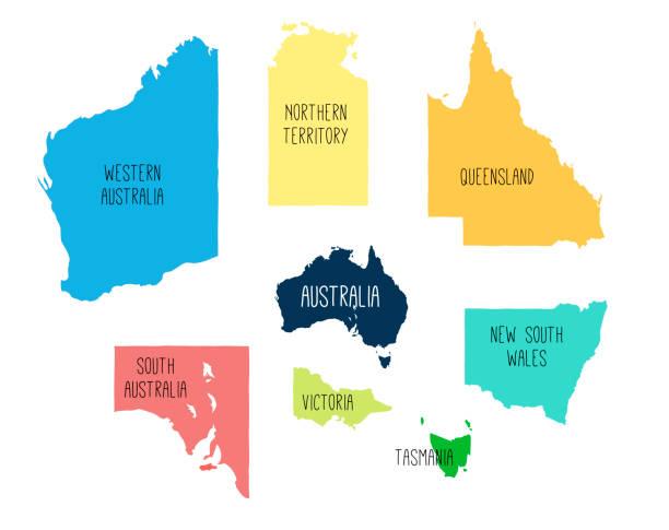 ilustraciones, imágenes clip art, dibujos animados e iconos de stock de mapa vectorial de españa con territorios separados. - australia