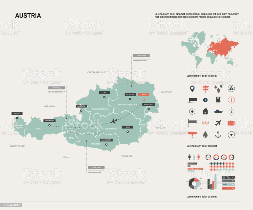 Image of: Vector Map Of Austria High Detailed Map With Division Cities And Capital Vienna Political Map World Map Infographic Elements Stock Illustration Download Image Now Istock