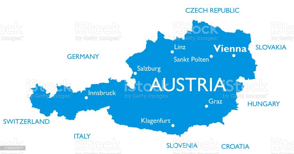 Vektor karta över Österrike - Royaltyfri Graz vektorgrafik