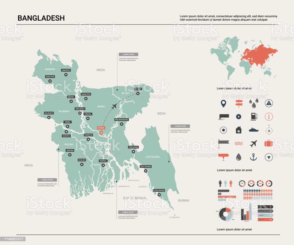 Vector Map Of Bangladesh High Detailed Country Map With ...