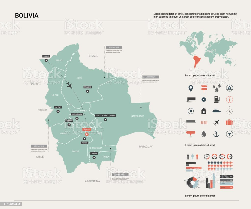 Picture of: Vector Map Of Bolivia High Detailed Country Map With Division Cities And Capital Sucre Political Map World Map Infographic Elements Stock Illustration Download Image Now Istock