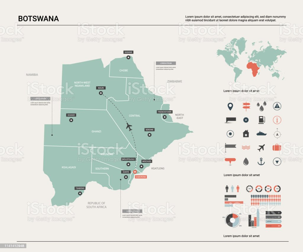 Picture of: Vector Map Of Botswana High Detailed Country Map With Division Cities And Capital Gaborone Political Map World Map Infographic Elements Stock Illustration Download Image Now Istock