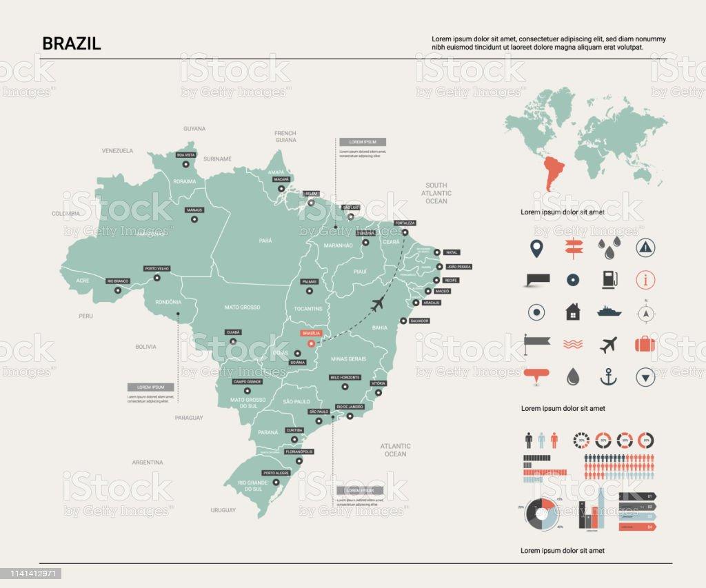 Mapa do vetor de Brasil.  Mapa detalhado elevado do país com divisão, cidades e capital Brasília. Mapa político, mapa de mundo, elementos infográfico. - Vetor de Azul royalty-free