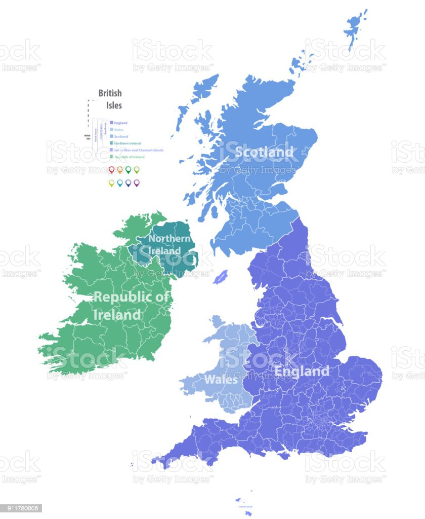 vector map of British Isles administrative divisions colored by countries and regions. Districts and counties maps of United Kingdom,Northern Ireland, Wales, Scotland and Republic of Ireland vector art illustration