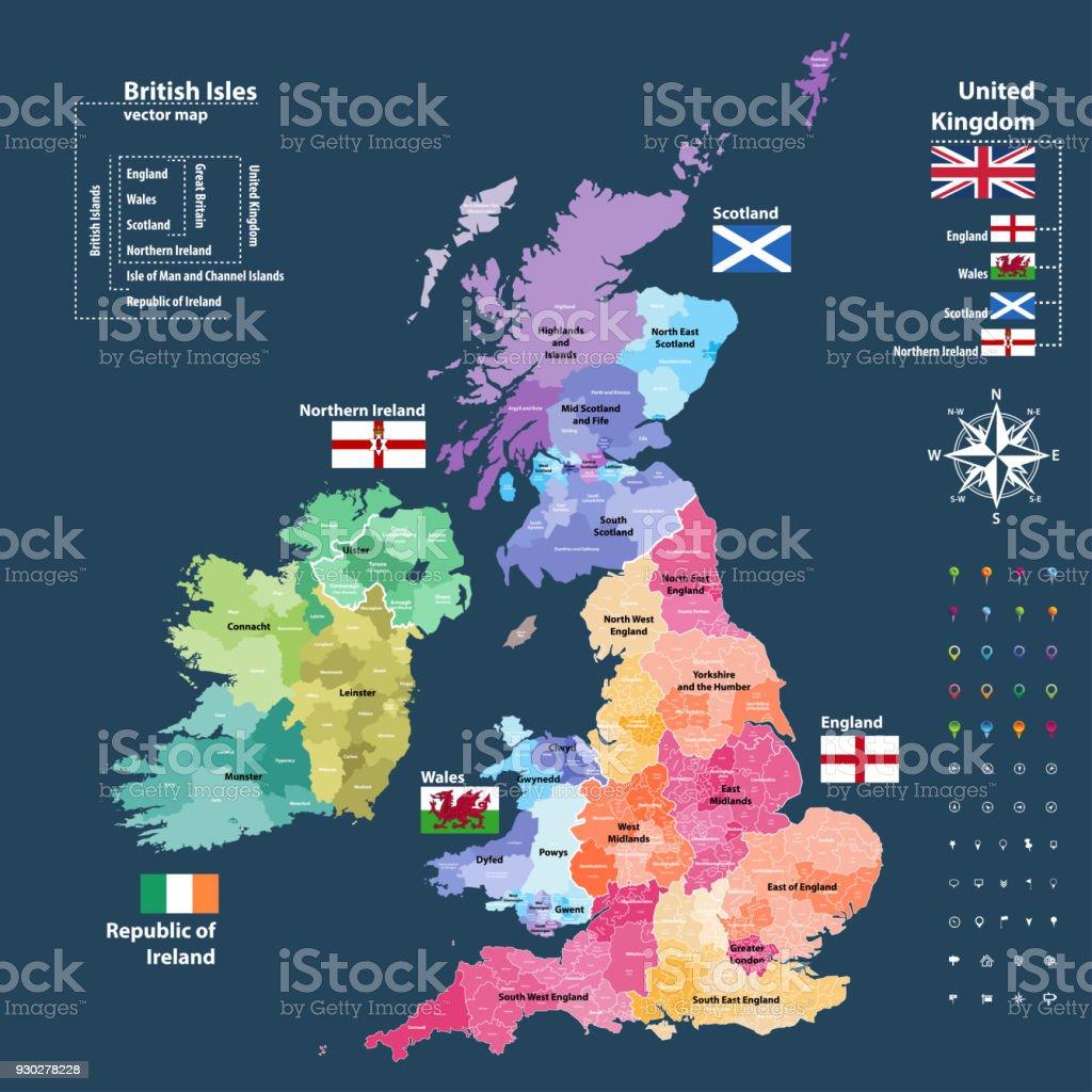 イギリス諸島の行政区分の国や地域によって色のベクター マップ地区 ...