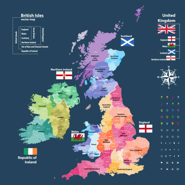 vector map of British Isles administrative divisions colored by countries and regions. Districts and counties maps and flags of United Kingdom,Northern Ireland, Wales, Scotland and Republic of Ireland vector map of British Isles administrative divisions colored by countries and regions. Districts and counties maps and flags of United Kingdom,Northern Ireland, Wales, Scotland and Republic of Ireland south wales stock illustrations