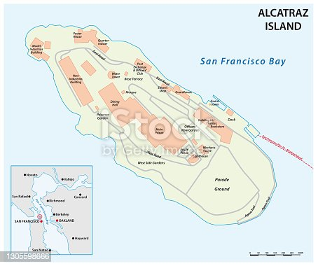 istock vector map of Californias former prison island Alcatraz 1305598666