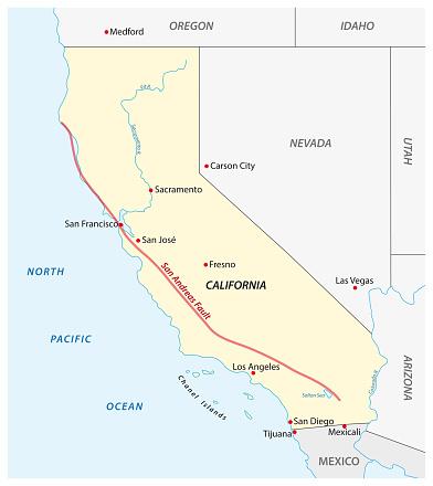 Vector map of Californias San Andreas Fault