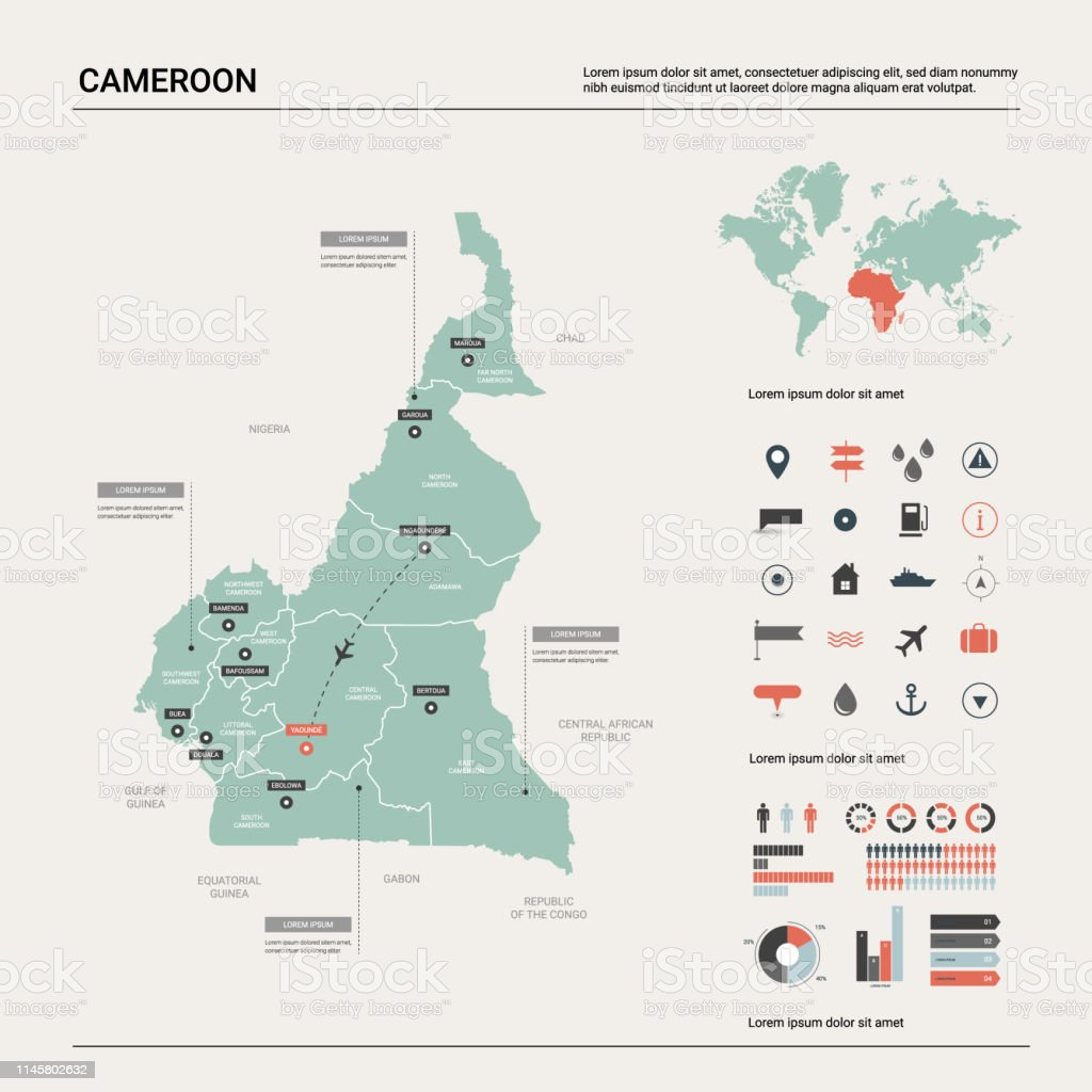 Vector Map Of Cameroon High Detailed Country Map With ...