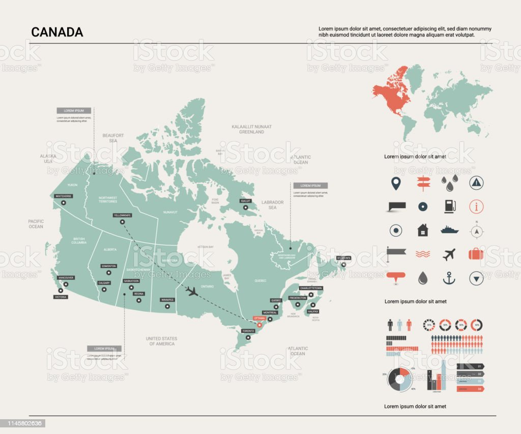Ottawa On Map Of Canada.Vector Map Of Canada High Detailed Country Map With Division Cities