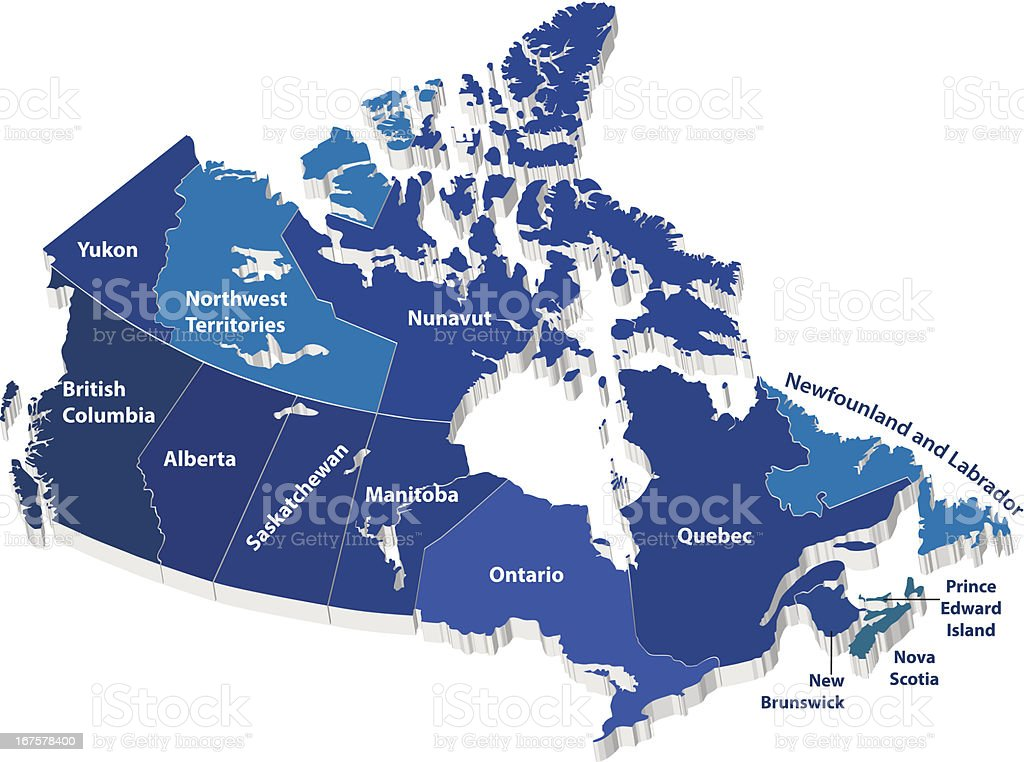 Vector map of Canada vector art illustration