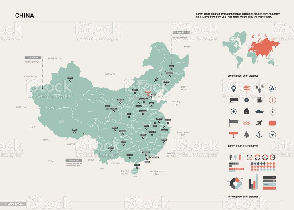 Mapa Del Mundo China.Ilustracion De Mapa Vectorial De China Alto Mapa Detallado Del Pais Con La Division Ciudades Y Capital Pekin Mapa Politico Mapa Del Mundo Elementos Infograficos Y Mas Vectores Libres De Derechos De