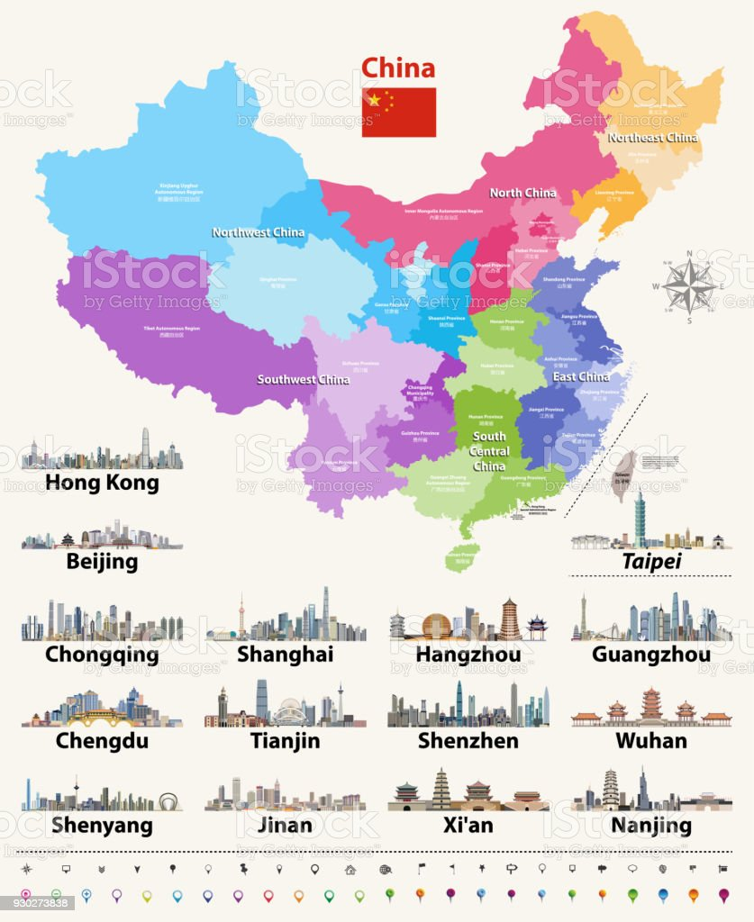 vector map of China provinces colored by regions. vector art illustration